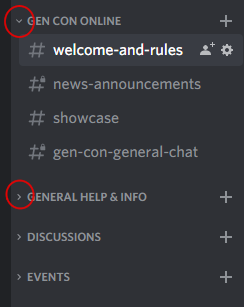 Screenshot of Discord interface showing collapsing of categories